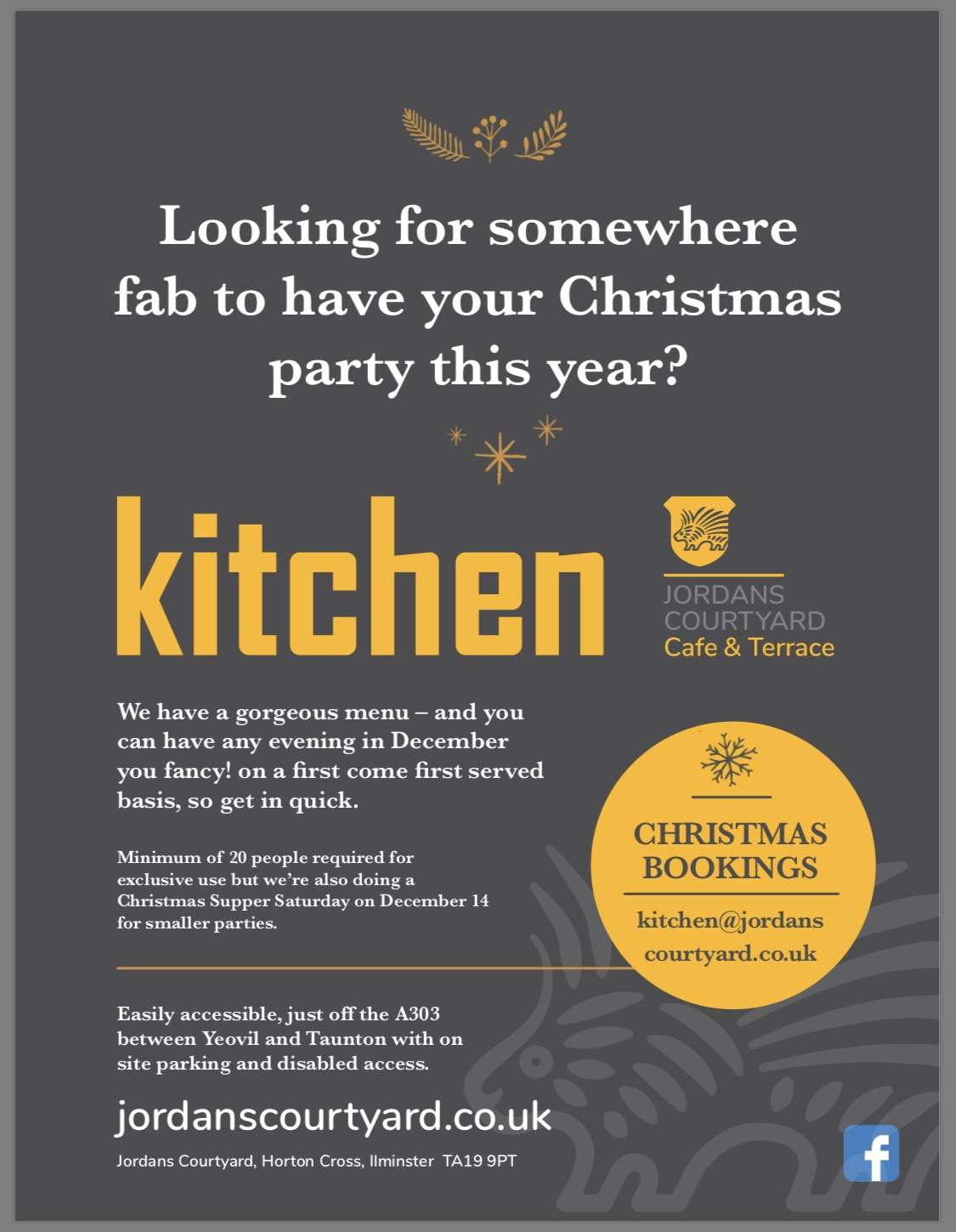 Christmas Parties at KItchen at JOrdans Courtyard